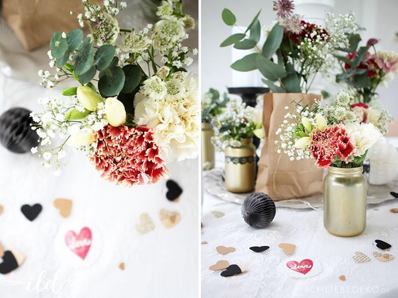 Diy Hochzeitsdeko  Romantische Hochzeitsdeko in Schwarz Rot Gold • Ich Liebe Deko