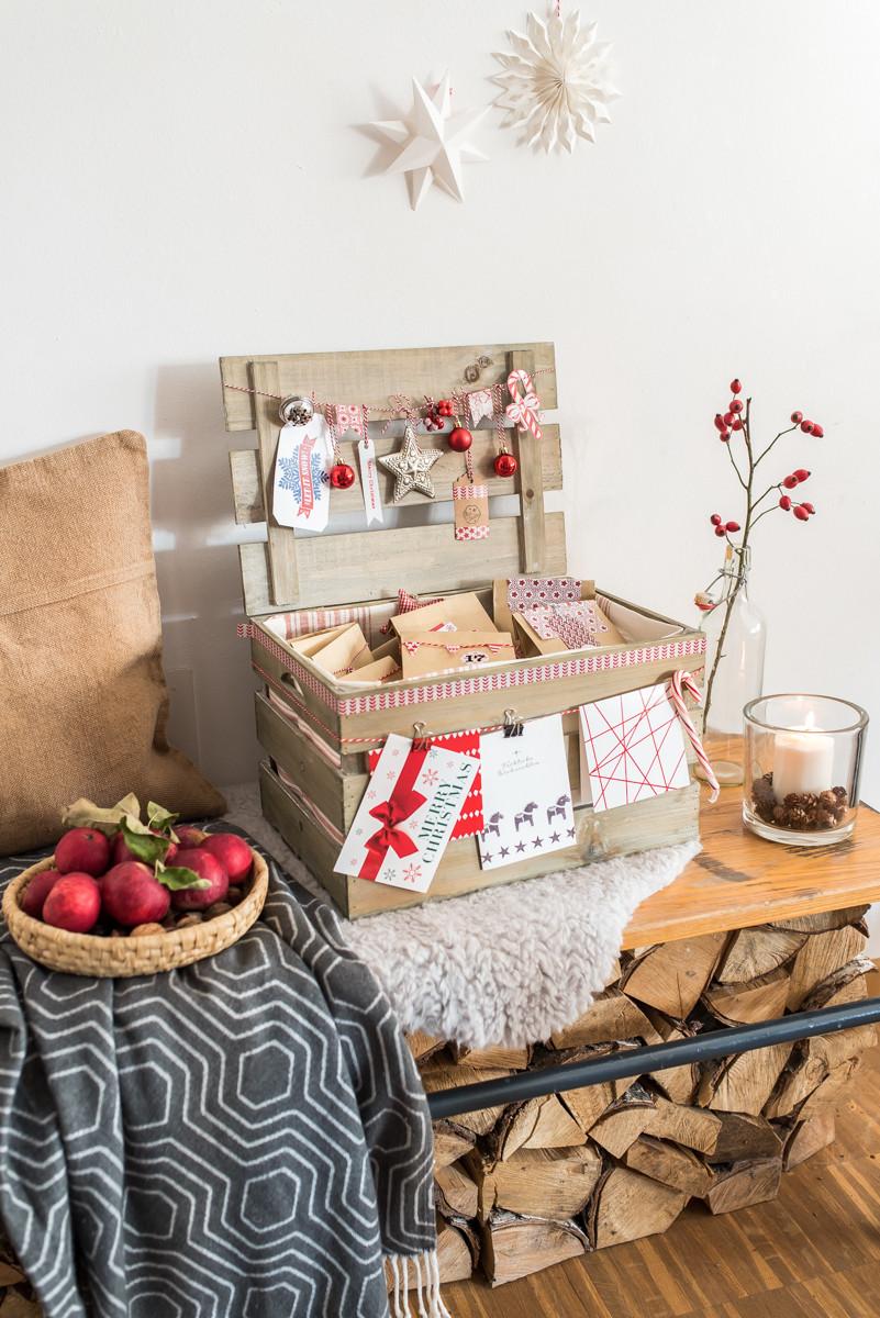 Diy Holzkiste  Adventskalender in der Kiste Kooperation mit Tchibo
