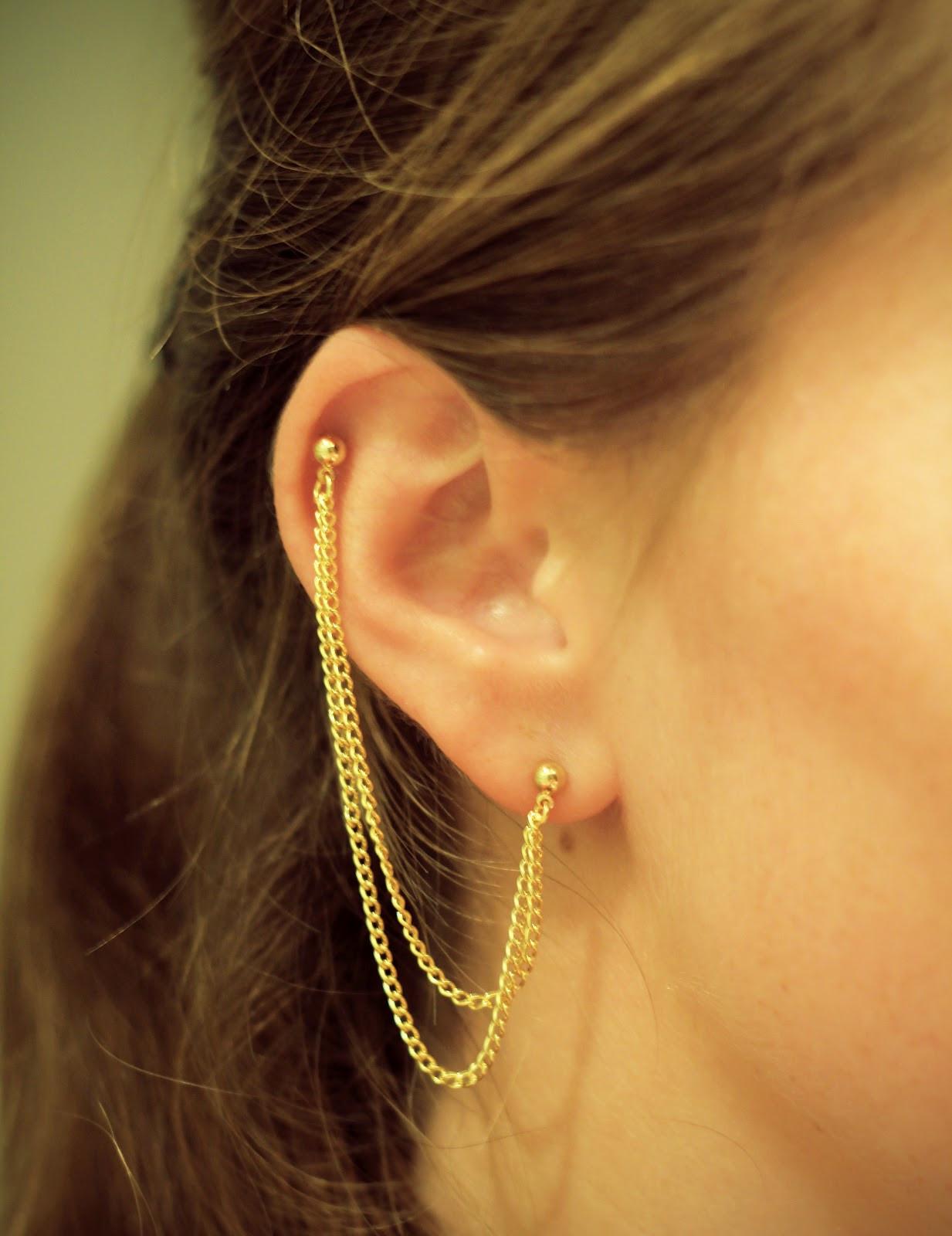 Diy In Ear  Ride DIY DIY Double Piercing Chain Earring