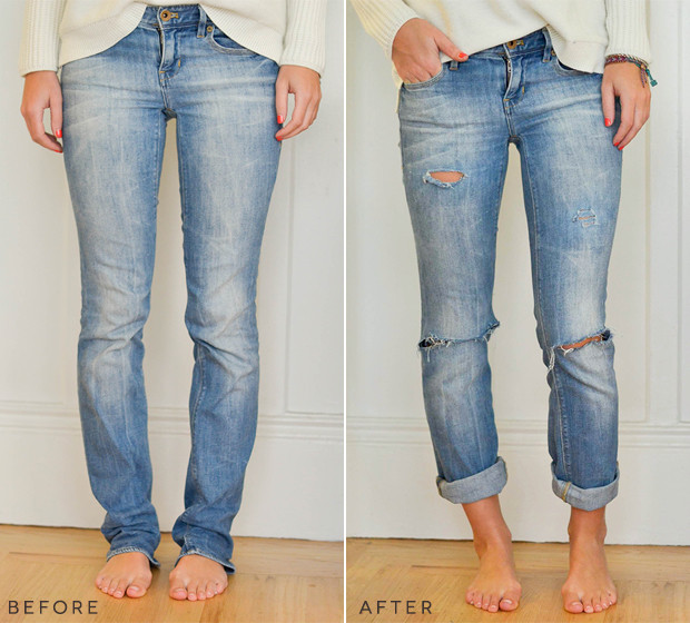 Diy Jeans  DIY Boyfriend Jeans