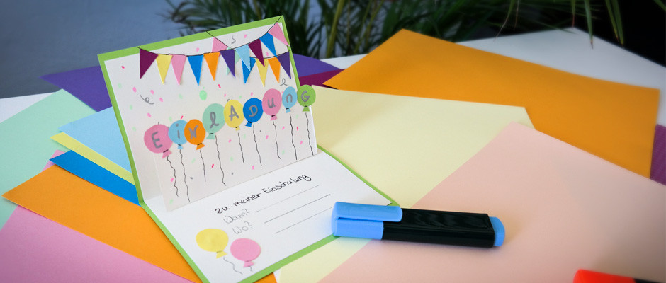 Diy Karte  DIY Pop up Karte Einladungskarte zur Einschulung basteln
