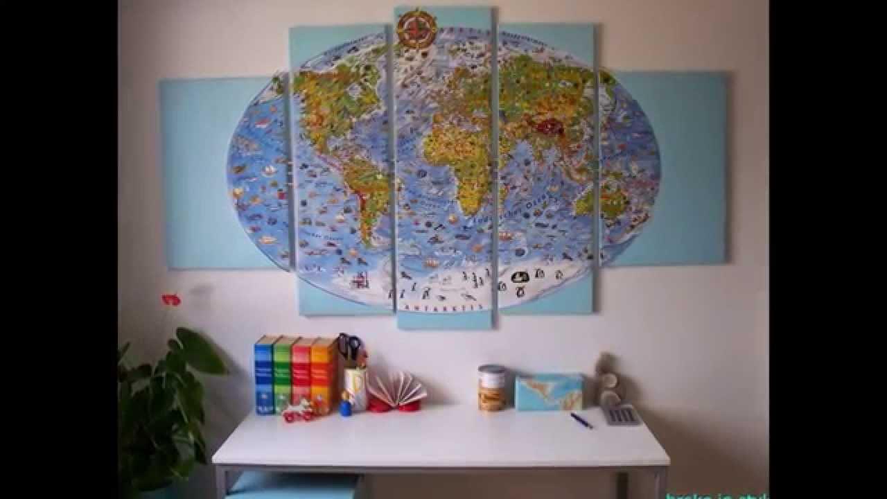 Diy Kinderzimmer Deko  DIY Kinderzimmer Deko Wandbild Weltkarte