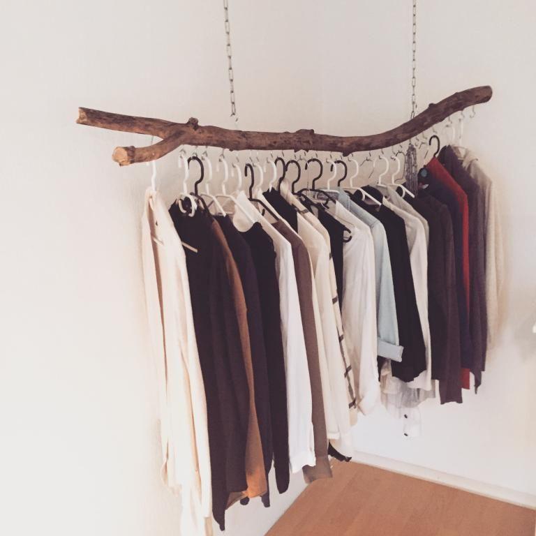 Diy Kleiderstange  Frei hängende Kleiderstange als schöne und einfache DIY