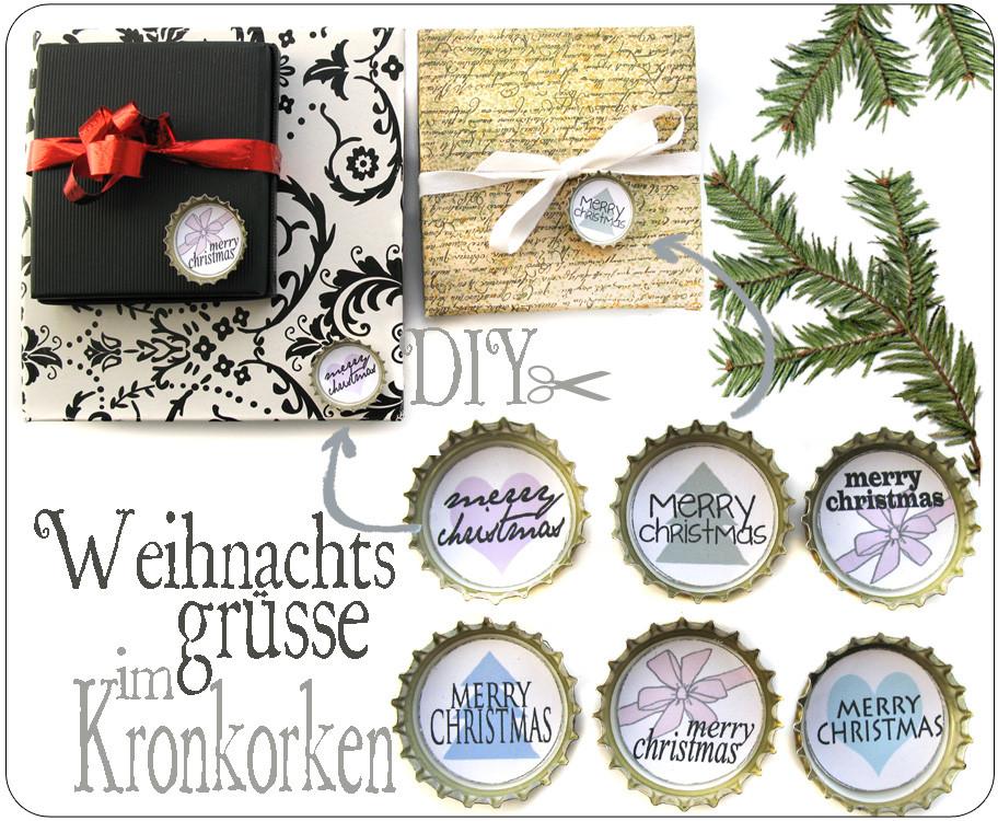Diy Kronkorken  Alessas Blog DIY Weihnachtsgrüße im Kronkorken