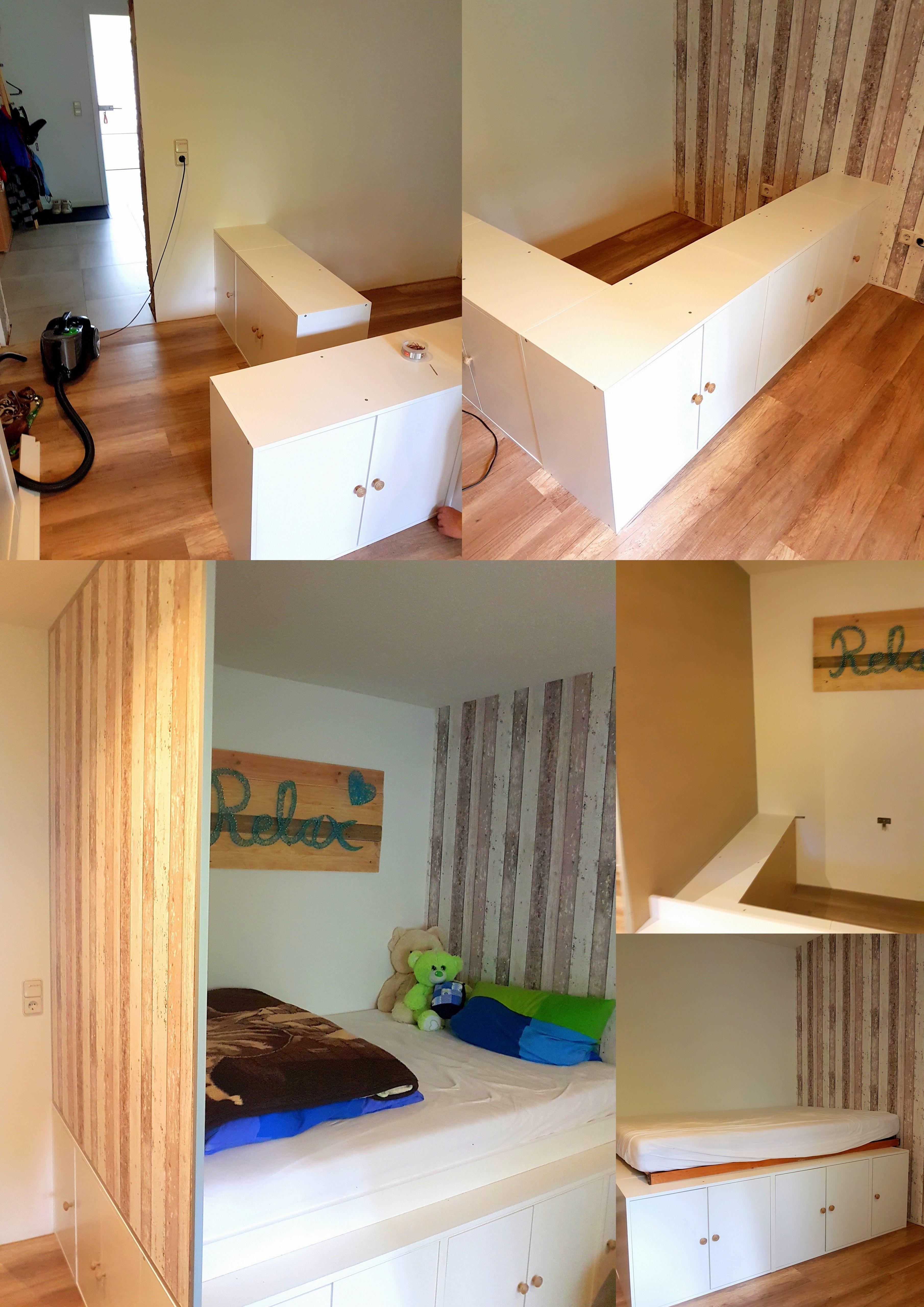 Diy Küchenschrank  DIY Jugendzimmer Hochbett mit Ikea Küchenschränken als