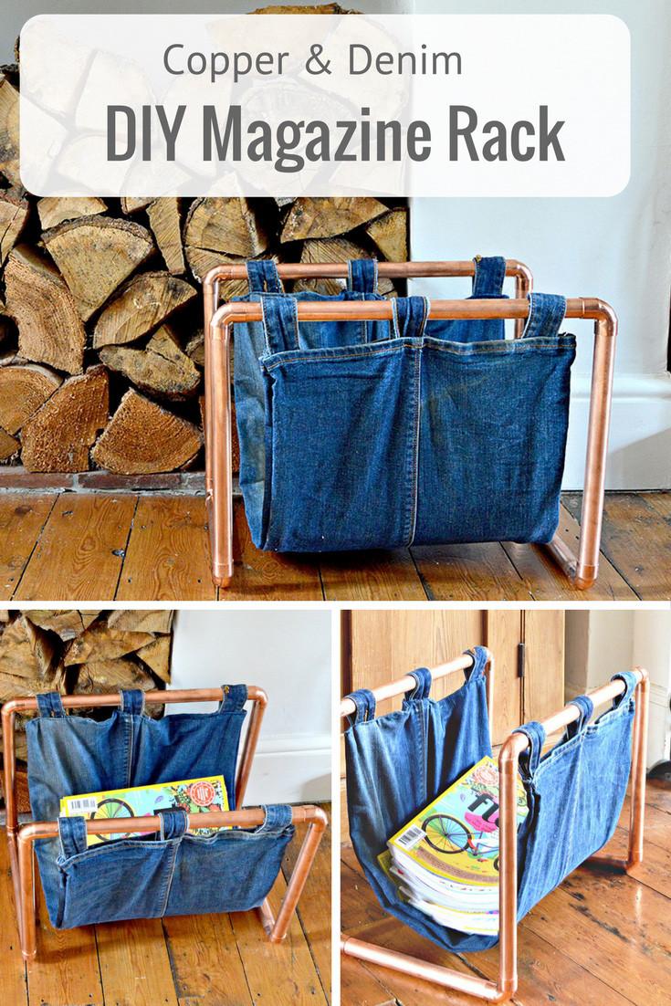 Diy Magazine  How to make a Trendy Copper and Denim DIY Magazine Rack