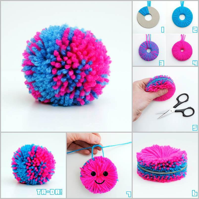 Diy Pom Poms  Creative Ideas DIY Easy Yarn Pompoms