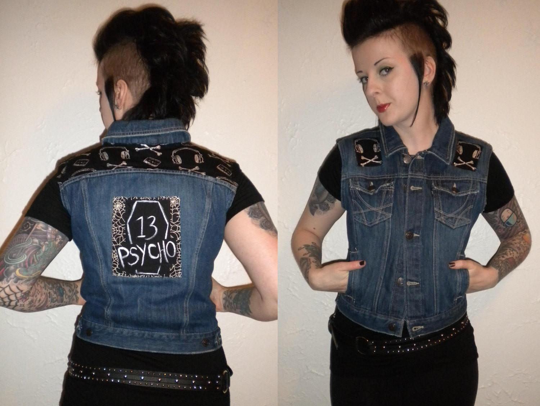 Diy Punk  Psychobilly Upcycled DIY Punk Vest Psycho Coffin