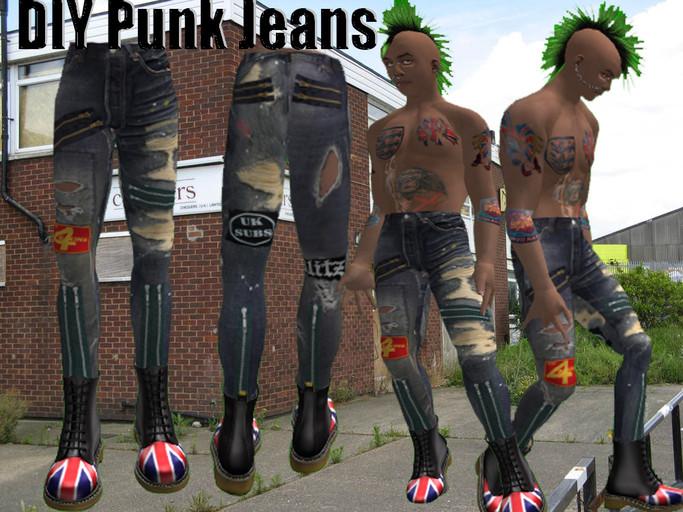 Diy Punk  Second Life Marketplace DIY Punk trousers