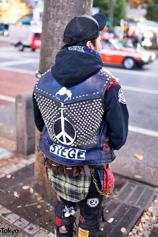 Diy Punk  Old School Punk w Grimple Cap & DIY Studded Vest in Shi a