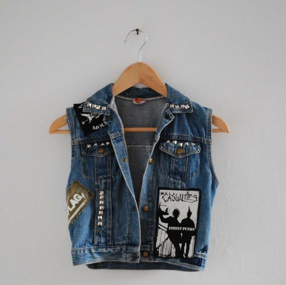 Diy Punk  Vintage DIY denim punk vest