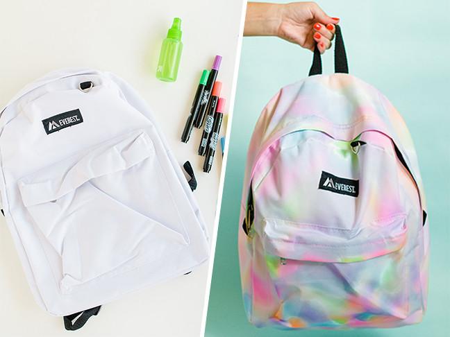 Diy Rucksack  This DIY Rainbow Watercolor Backpack Is So Cool For School
