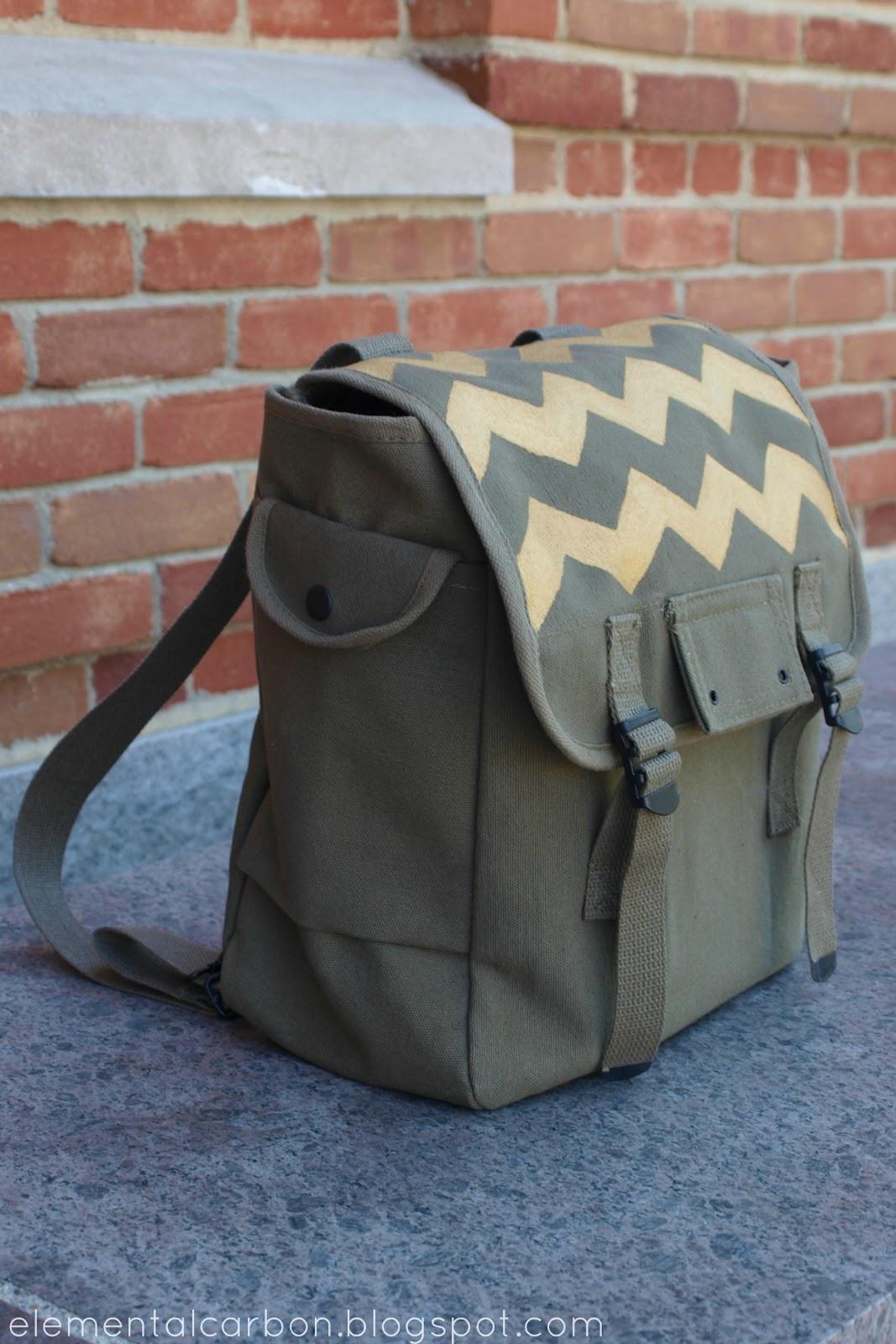 Diy Rucksack  Elemental Carbon Gold Chevron Army Backpack DIY