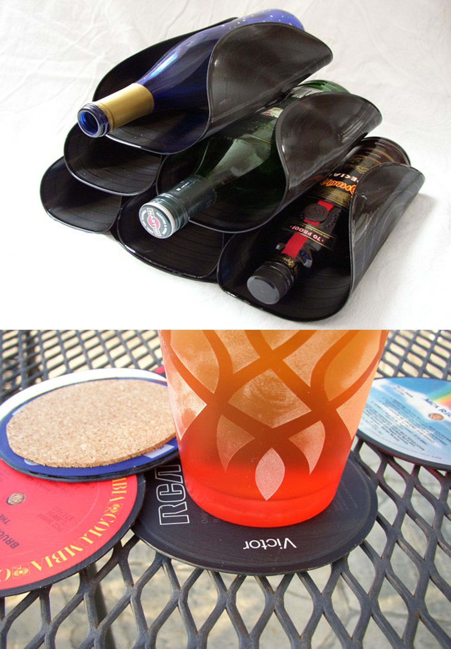 Diy Schallplatten  Ausgefallene Weinflaschenhalter aus Schallplatten diy