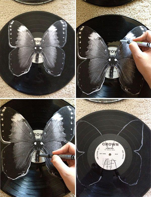 Diy Schallplatten  diy vinyl butterflies Schmetterlinge aus Schallplatten