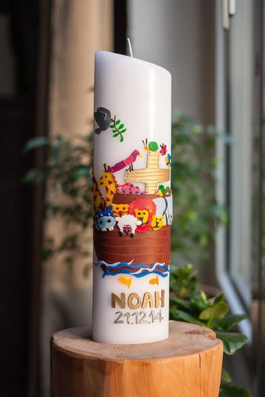 Diy Taufkerze  Noahs Taufe Die Taufkerze DIY familiert