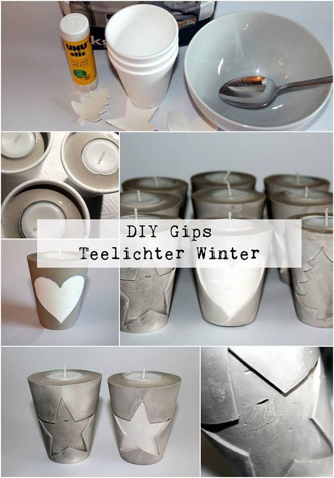 Diy Teelichthalter  DIY Gips Beton Teelichthalter Weihnachten