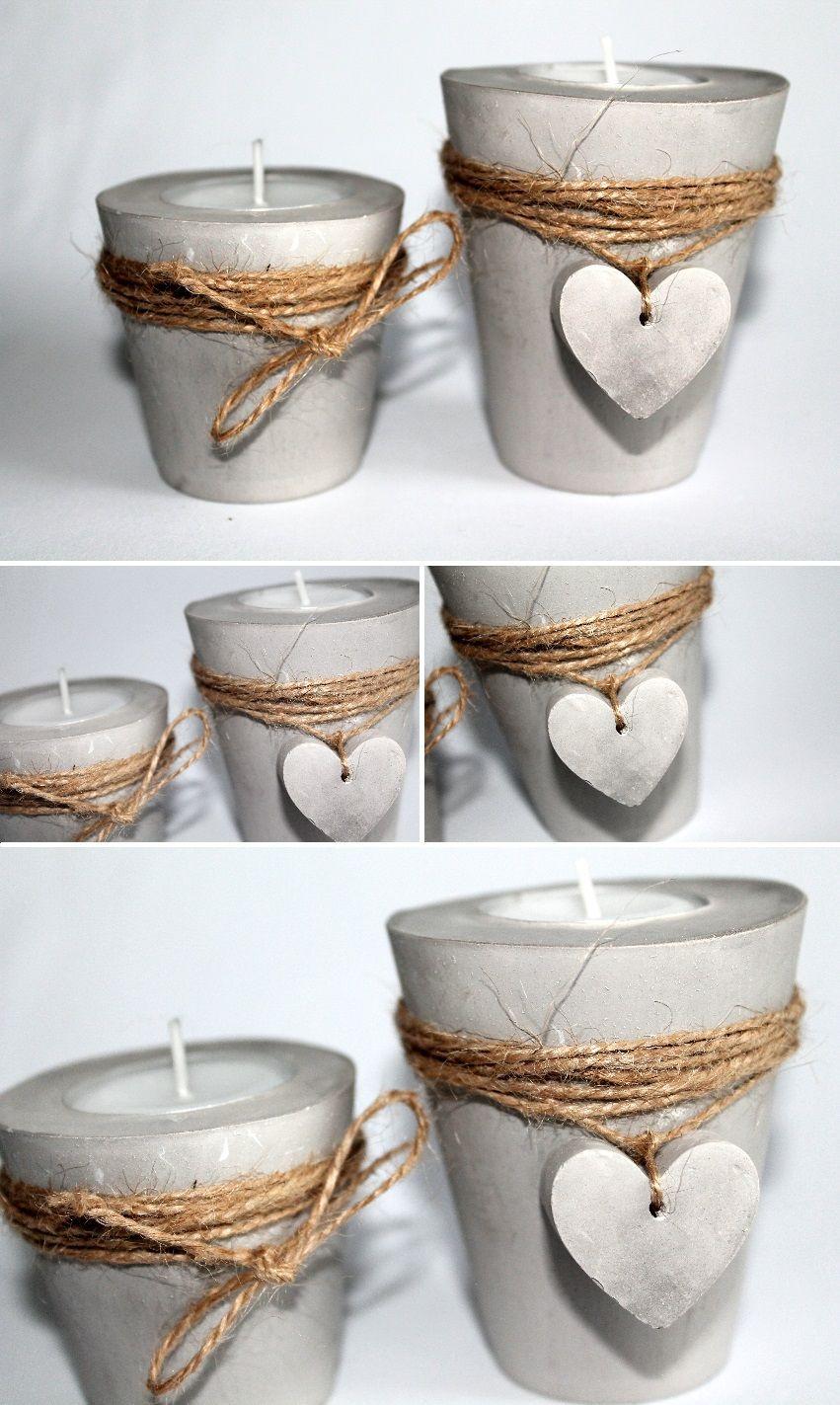 Diy Teelichthalter  DIY Gips Beton Teelichthalter Herz