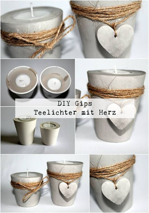Diy Teelichthalter  DIY Gips Beton Teelichthalter mit einem Herz ganz
