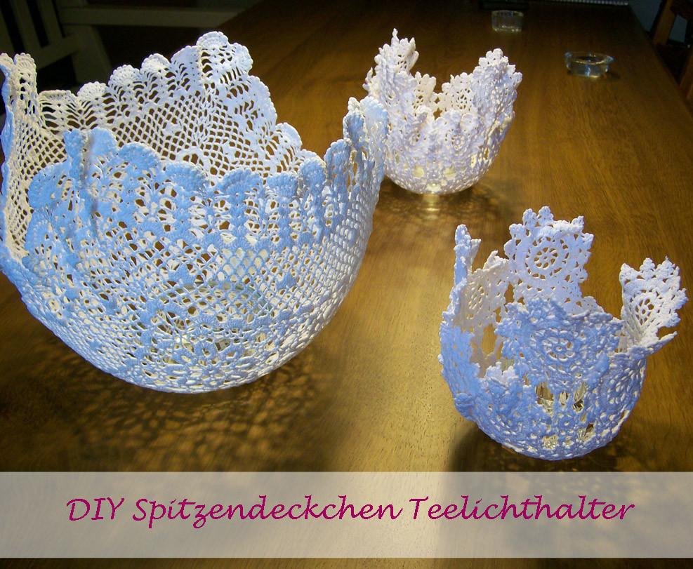 Diy Teelichthalter  DIY Spitzendeckchen Teelichthalter Hochzeitsdeko