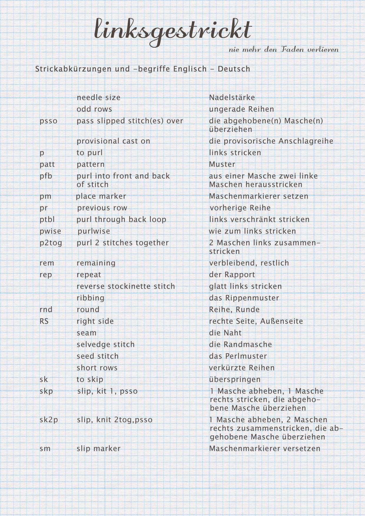 Diy Übersetzung  Kleines Strickwörterbuch Englisch Deutsch