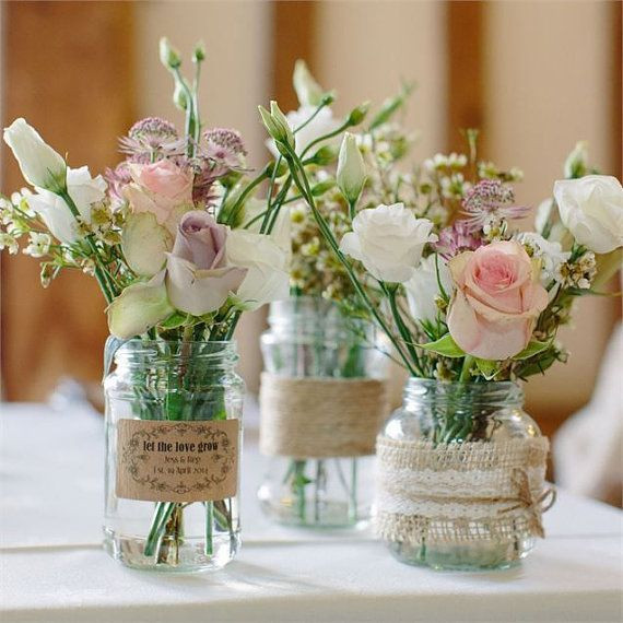 Diy Vintage Deko  Traditional Mason Style Glass Jar Wedding Centrepiece