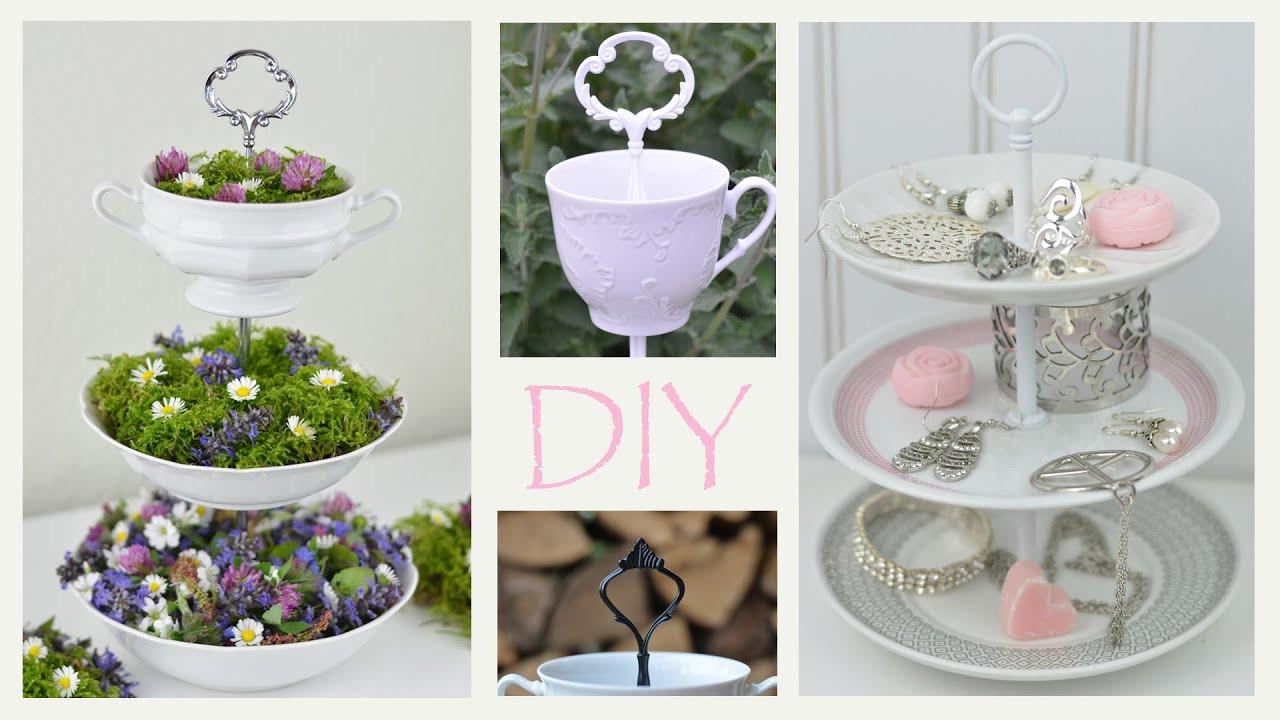 Diy Vintage Deko  DIY Etagere aus altem Geschirr selbermachen romantische