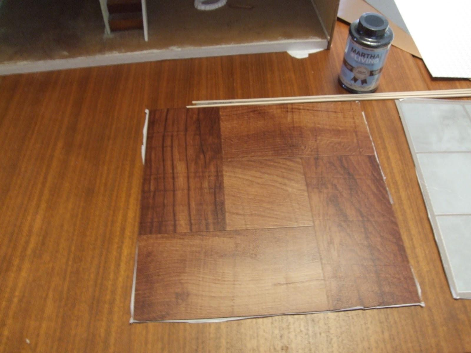 Diy Vinyl  DIY hardwood dollhouse flooring from vinyl tiles