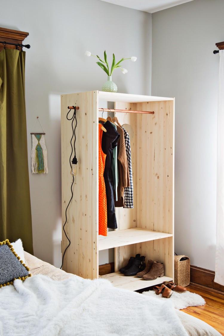 Diy Wardrobe  DIY Modern Wooden Wardrobe With Copper Details Shelterness