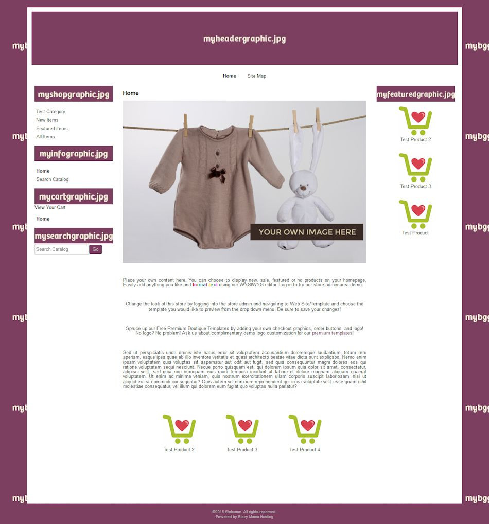 Diy Websites  DIY Boutique Website Template Bizzy Mama Hosting