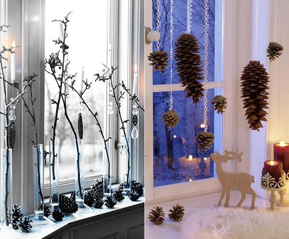 Diy Weihnachtsdeko Fenster  20 DIY Ideen für Winterdeko mit Nadelbäume Zapfen fresHouse