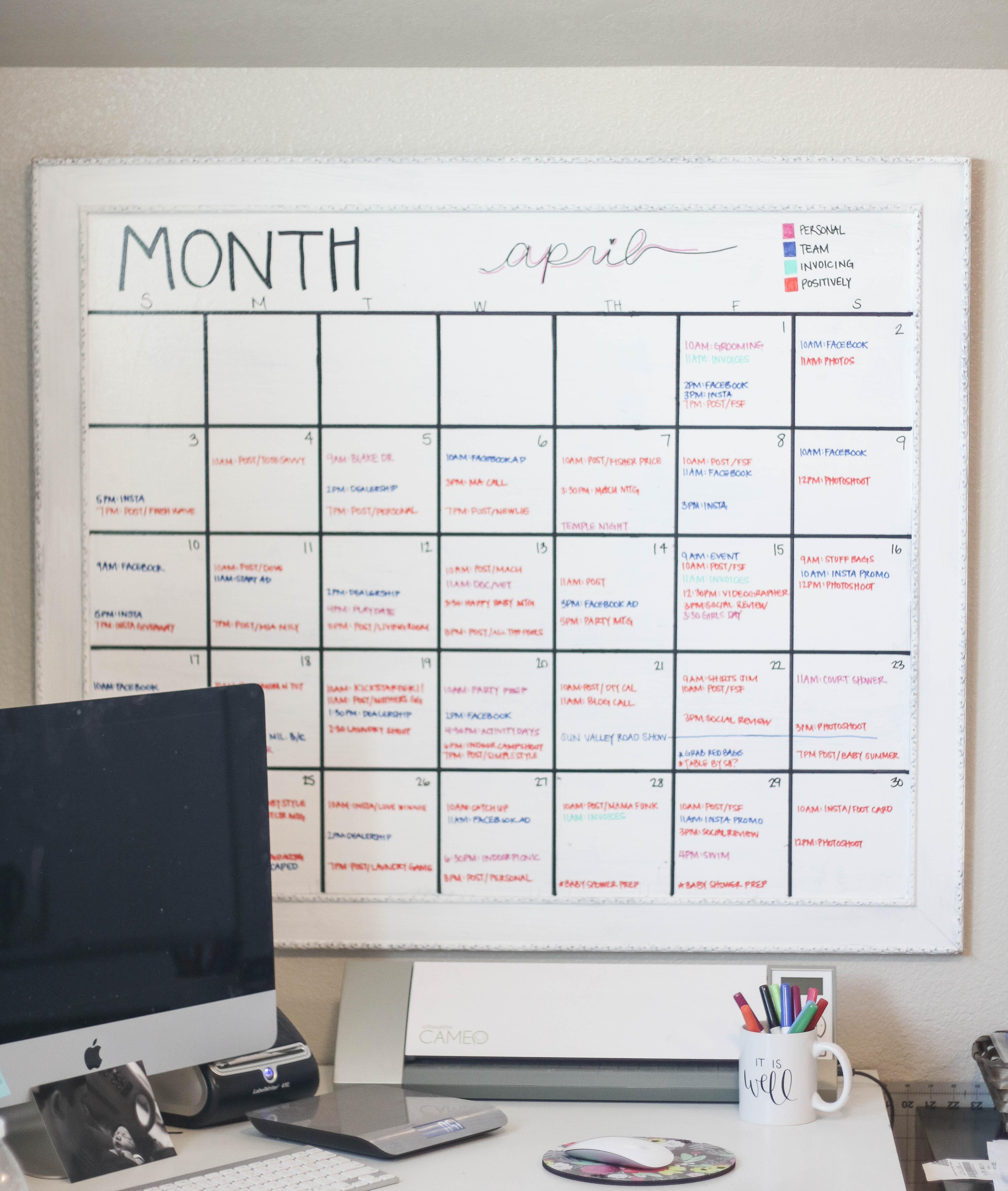 Diy Whiteboard  DIY Giant Calendar Positively Oakes