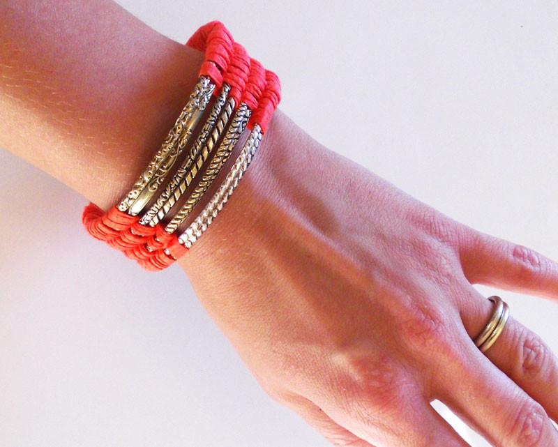 Diy Wolle  DIY Armband Wolle korall1
