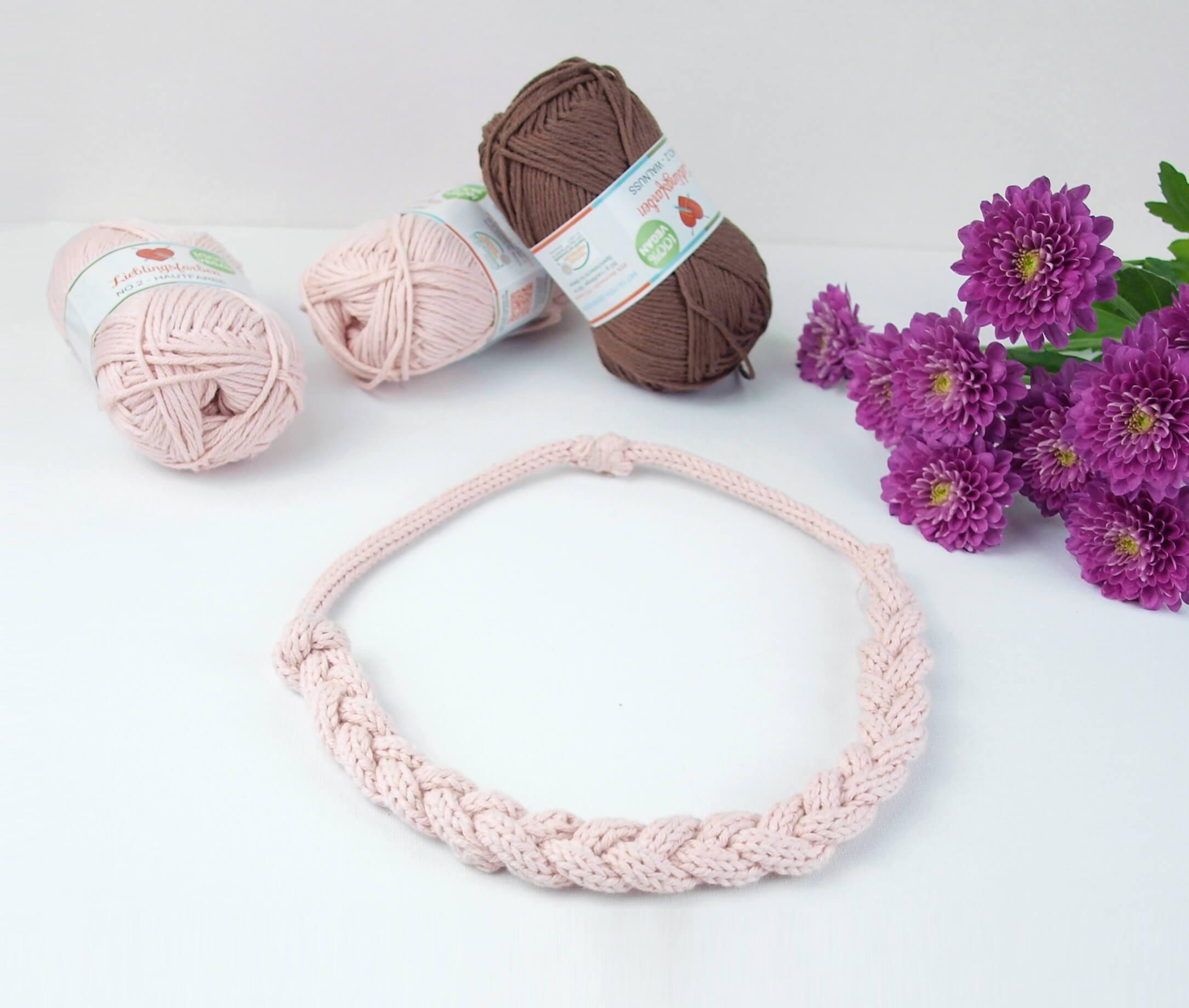 Diy Wolle  Gestrickter Schmuck DIY Strickkette aus veganer Wolle