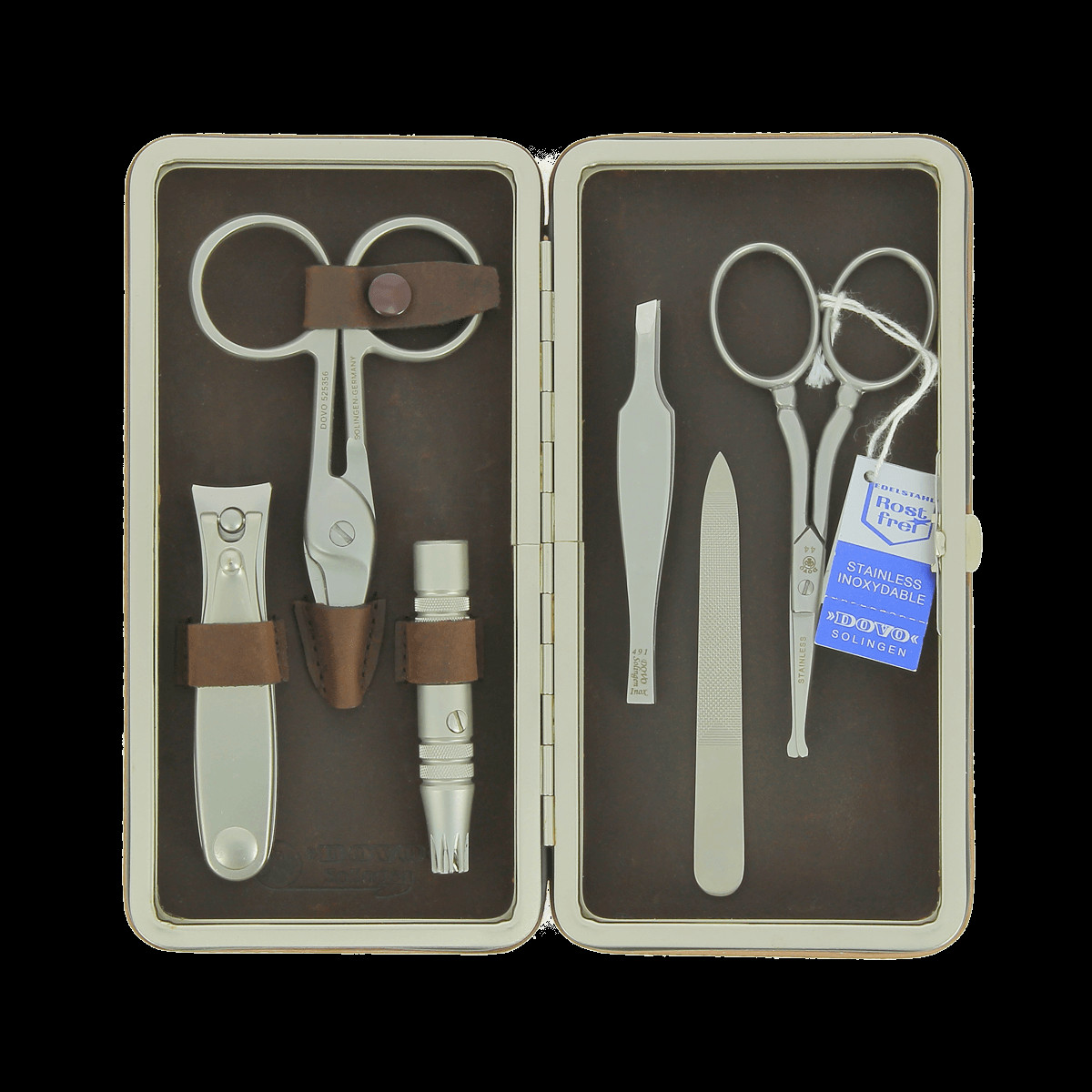 Dovo Maniküre Set  Dovo 6 Piece Manicure Set in Brown Leather Magnetic Case