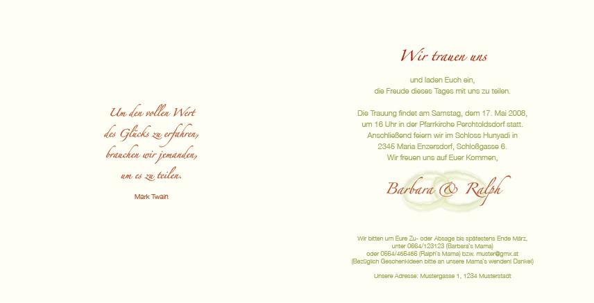 Einladung Geld Statt Geschenke  Hochzeitseinladung Ringkunst