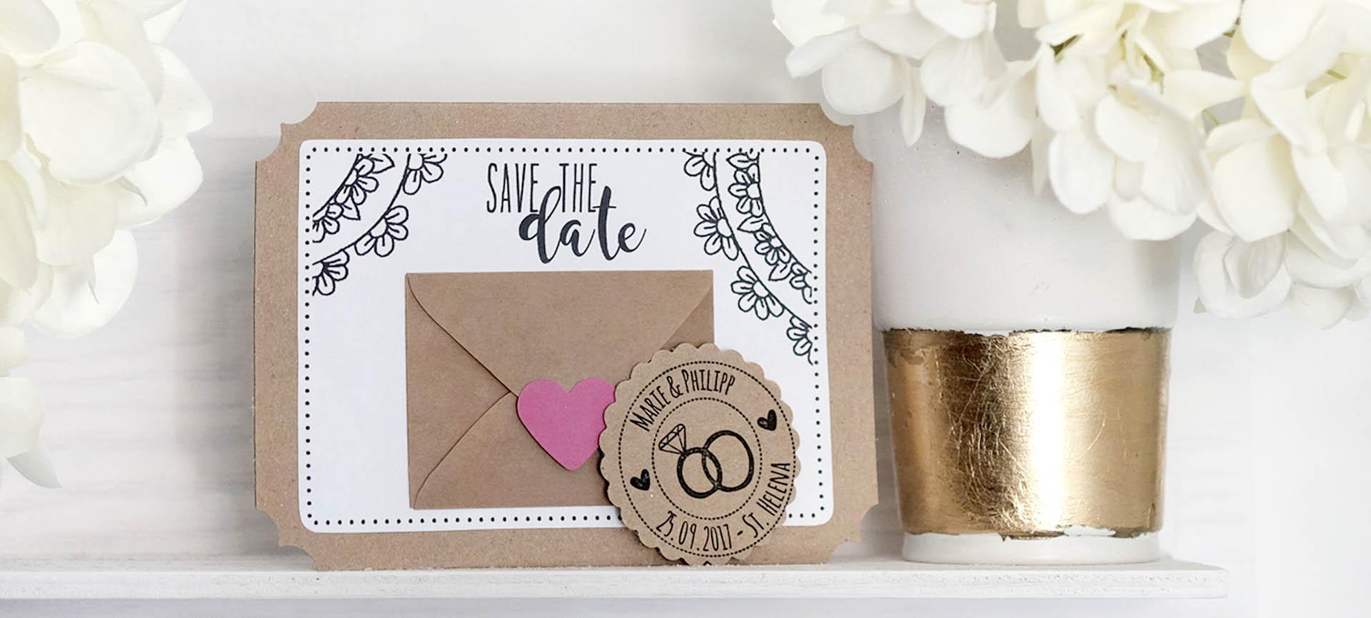 """Einladung Hochzeit Diy  Hochzeit DIY """"Save the date"""" Einladung basteln"""