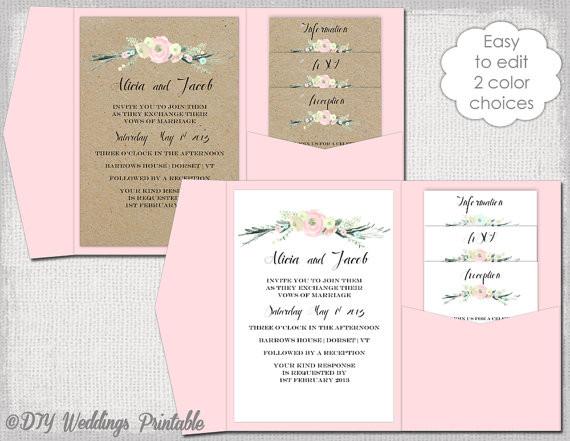 Einladung Hochzeit Diy  Pocket Einladung Vorlage DIY pocketfold Hochzeit Einladungen