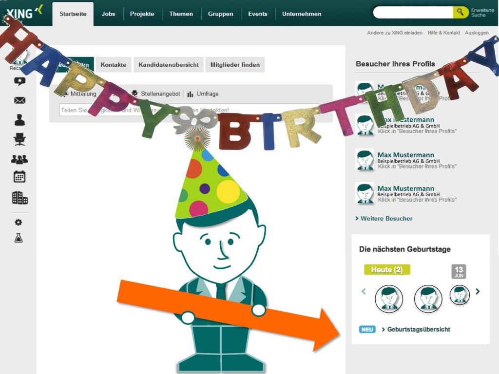 Elektronische Geburtstagskarten  Elektronische Geburtstagskarten mit XING