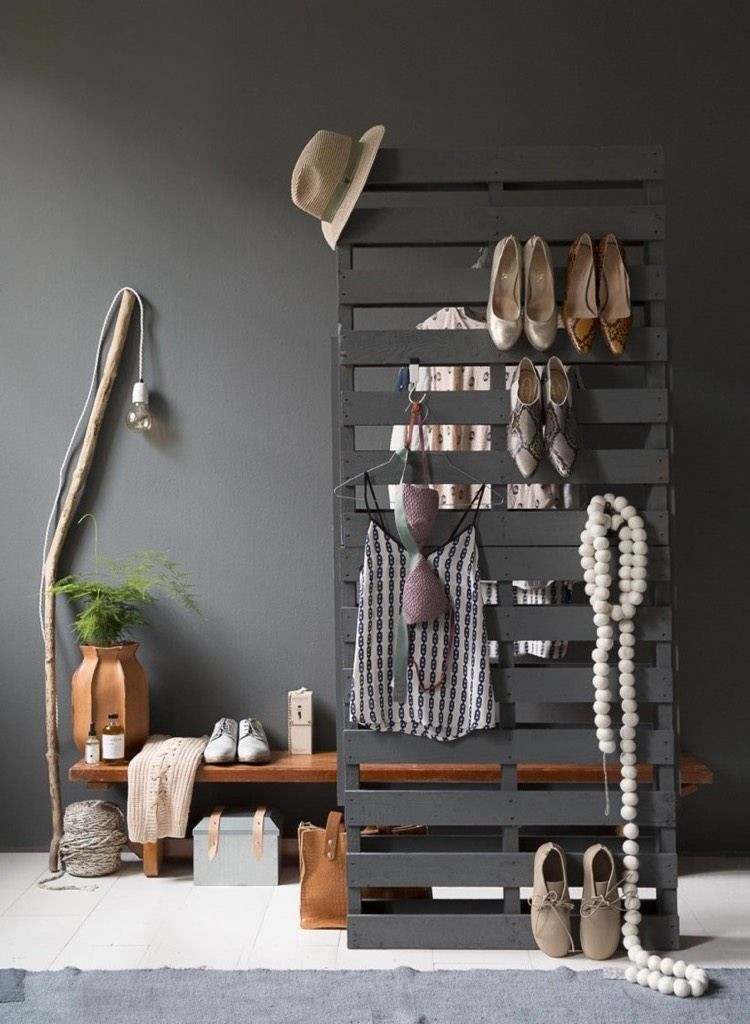 Europalette Diy  Garderobe aus Paletten selber bauen Anleitung und Ideen