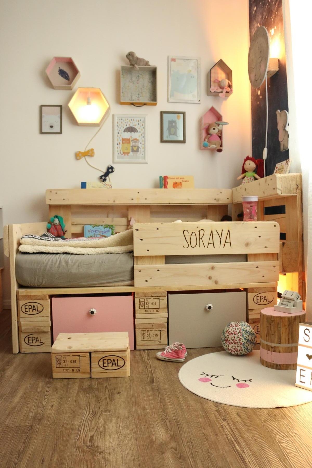 Europaletten Diy  Palettenbett für Kinder Kinderbett aus Europaletten
