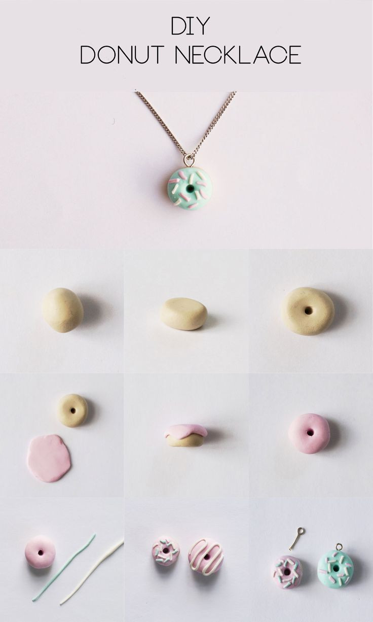 Fimo Diy  DIY Polymer Clay Donut Necklace Step by Step Tutorial