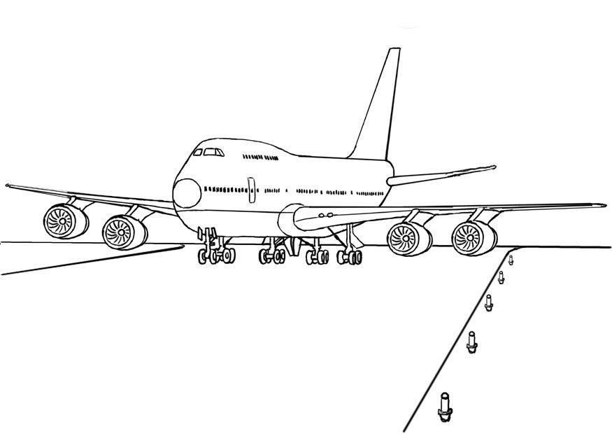 Flugzeug Ausmalbilder  Malvorlage 747 Flugzeug