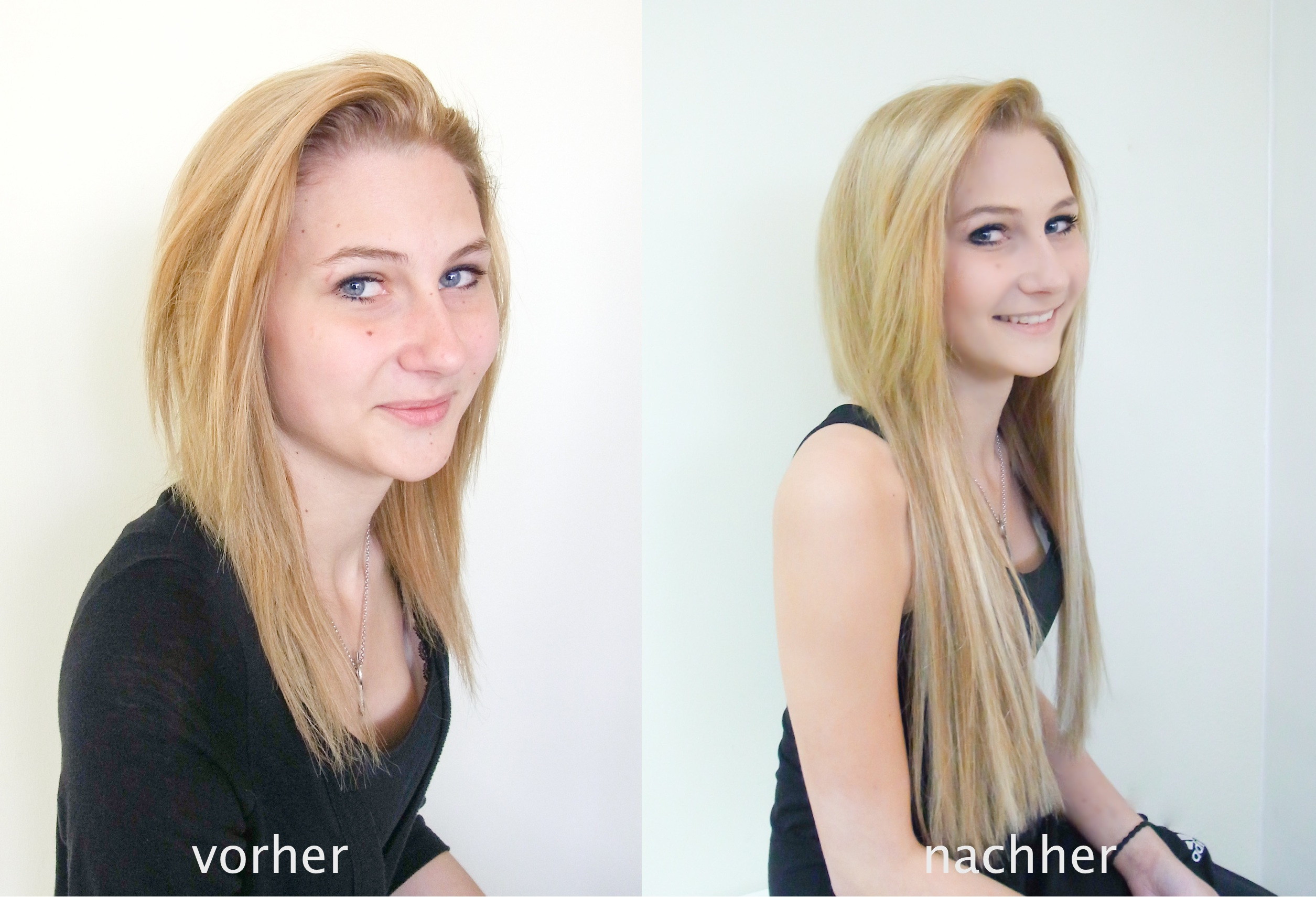 Frisuren Die Verjüngen Vorher Nachher  vorher nachher Haarverlängerung Vorher Nachher