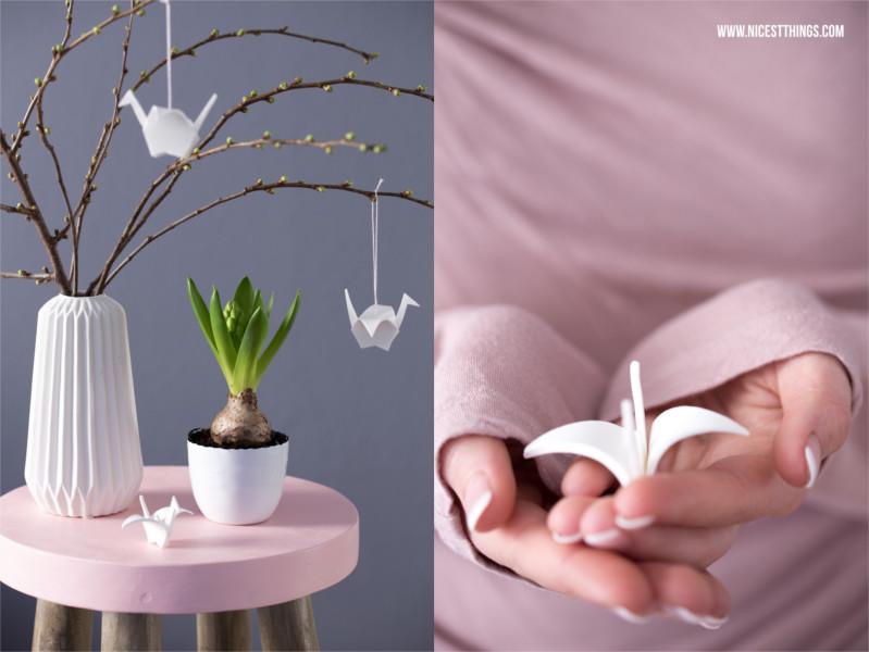 Frühlingsdeko Diy  Frühlingsdeko DIY Origamikraniche aus Modelliermasse