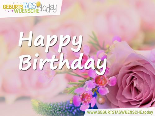 """Geburtstagsbilder Blumenstrauss  Schönes Geburtstagsbild """"Happy Birthday"""" mit schöner Rose"""
