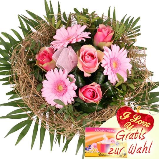 Geburtstagsbilder Blumenstrauss  Blumenstrauß Blütentraum in Rosa mit Gratiszugabe