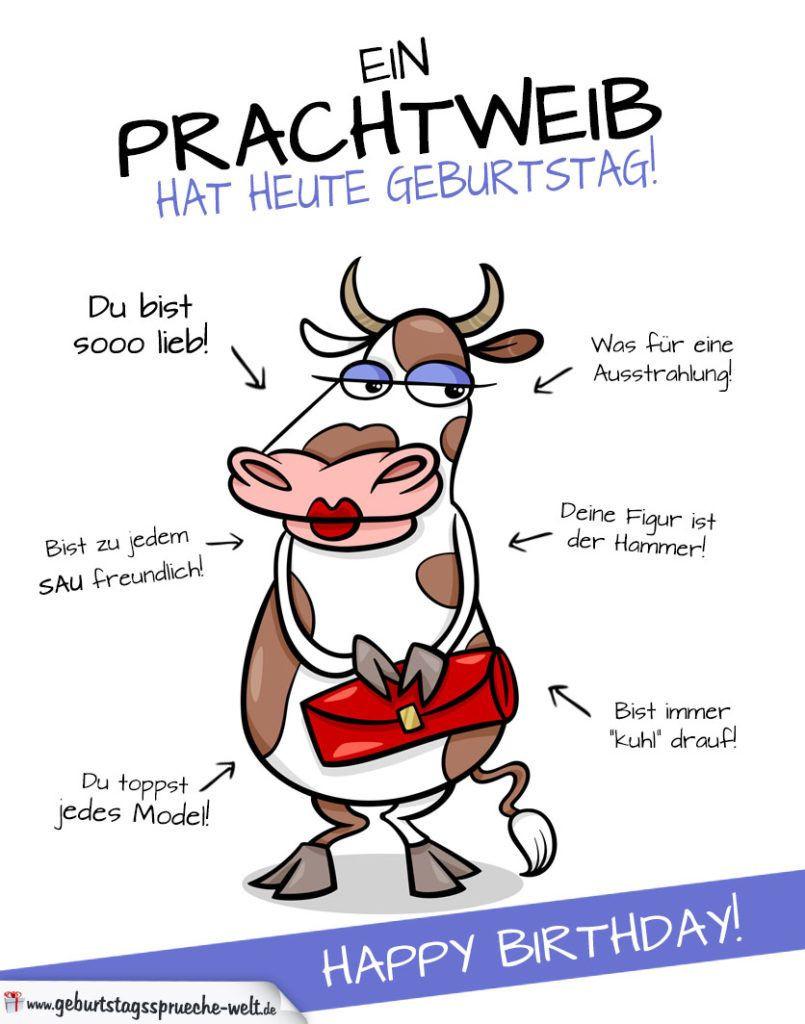 Geburtstagsbilder Lustig Frau  Coole Karte zum Geburtstag mit Kuh lustig