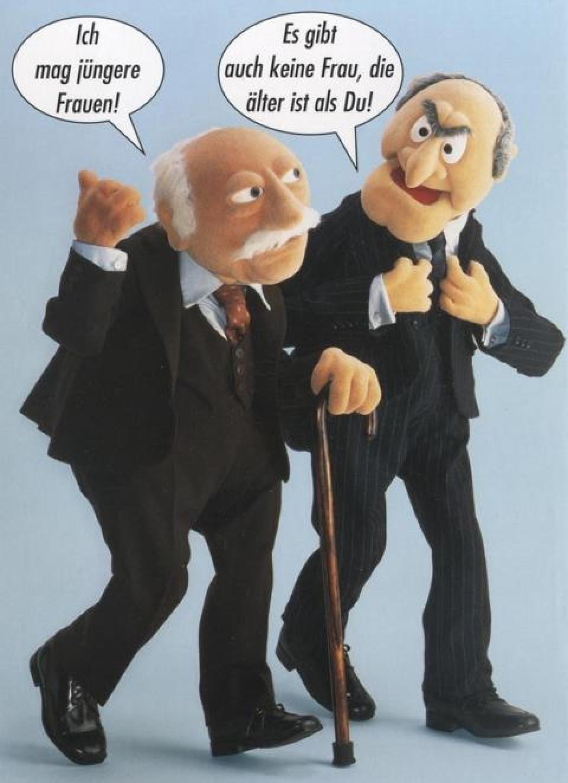 Geburtstagsbilder Lustig Frau  Lustige Postkarte Muppet Show Ich mag jüngere Frauen
