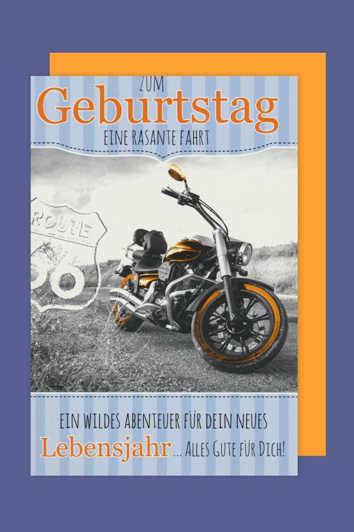Geburtstagsbilder Motorrad  Männer Geburtstag Biker Karte Grußkarte Route 66 Motorrad